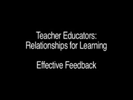 Relationships for Learning – Effective Feedback