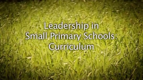 Leadership in Small Primary Schools – Curriculum